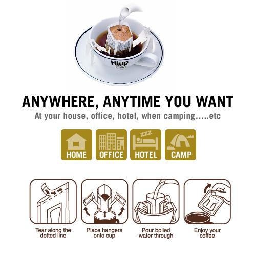 Cà phê phin giấy (Drip Coffee) Hiup Coffee: Mọi lúc, mọi nơi